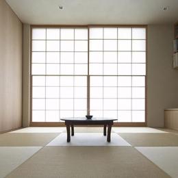 二子新地の家 木造アパートの一階を庭を楽しめる住居兼事務所に|改修 (茶の間-寛ぎの畳リビング)