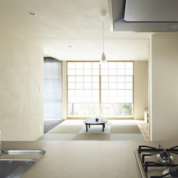 『二子新地の家』雪見障子越しに庭を眺める住まい (キッチンからの眺め)