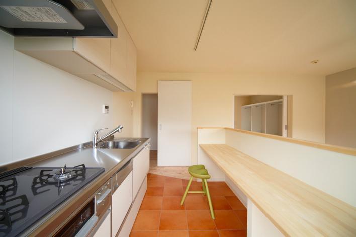 埼玉県和光市・緑豊かな旧公団住宅を、シンプルで暖かな空間へ (テラコッタ調フロアタイルのキッチン)