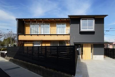 『岡崎・城南町の家』明るく健康的な二世帯住宅 (ガルバリウムと木を組み合わせた外観)