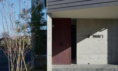 『名古屋・瑞穂区の家』不思議な奥行感のある住宅 (落ち着いた色味の玄関ドア)