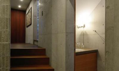 『名古屋・瑞穂区の家』不思議な奥行感のある住宅 (スキップフロア・洗面室)