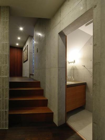 スキップフロア・洗面室 (『名古屋・瑞穂区の家』不思議な奥行感のある住宅)