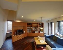 『名古屋・瑞穂区の家』不思議な奥行感のある住宅 (リビング-テレビボードと収納棚)