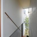 『名古屋・瑞穂区の家』不思議な奥行感のある住宅の写真 明るい光の入る階段室