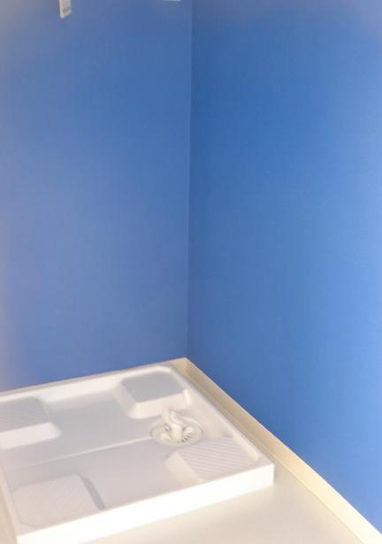 「カラフル・リフォーム」視覚で楽しむ家の部屋 ブルー壁の洗濯機スペース