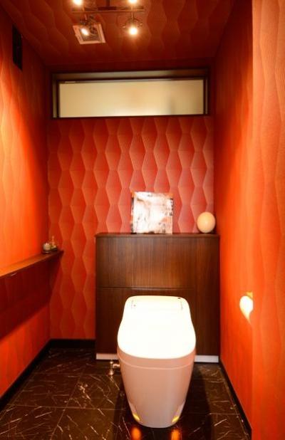 遊び心のあるトイレ空間 (自然に囲まれた立地にこだわりの欧風空間を実現)