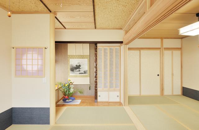 和風の家の部屋 全体を眺める