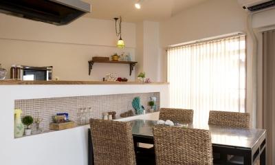 DK-アールの折り上げ天井|I邸・斜めに配置したキッチンで、動きと変化を