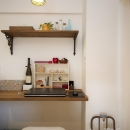 I邸・斜めに配置したキッチンで、動きと変化をの写真 パソコンスペース
