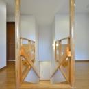 お寺の庫裡の大規模スケルトンリフォームの写真 無垢材を使用した階段スペース