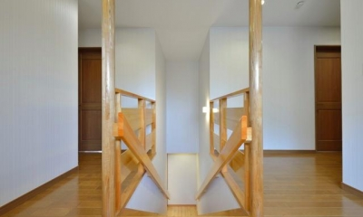 お寺の庫裡の大規模スケルトンリフォーム (無垢材を使用した階段スペース)