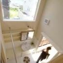 『海を望む家』建築家と建てる横須賀の狭小住宅の写真 上部ロフトより洗面室を見下ろす
