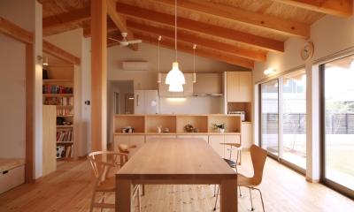 切り妻屋根のシンプルな平屋の家