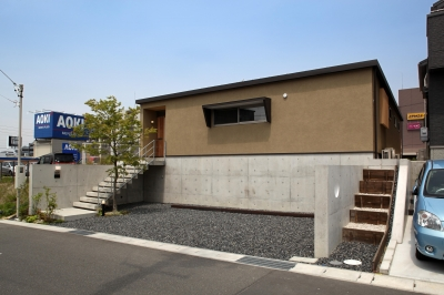 平屋のコートハウス (外観)