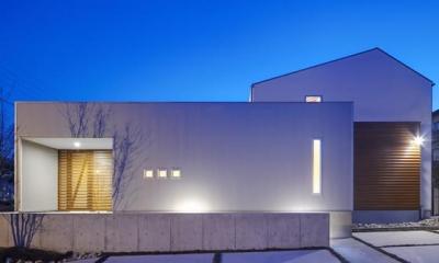 『公園前の家』明るくて風通しの良い住宅 (外観夜景)