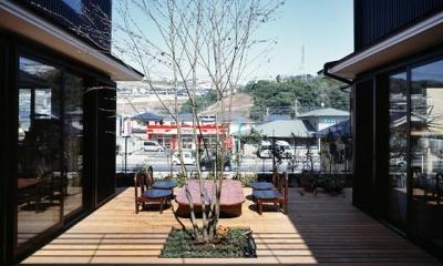『鹿児島の黒い家』木の温もり感じる和モダン住宅 (眺めの良い開放的な中庭)