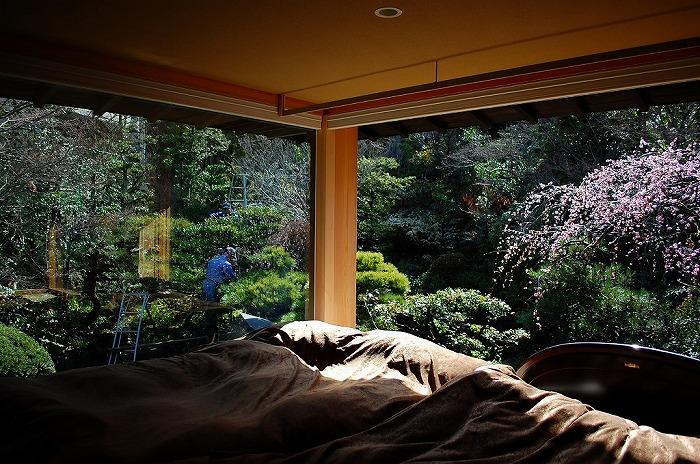 岩田坂の増築の部屋 寝室より望める美しい庭