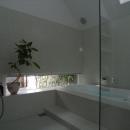 『黒いピラミッド』雪に対応した形・伝統の架構・4つの中庭の写真 モザイクタイル仕上げのバスルーム