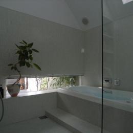 『黒いピラミッド』雪に対応した形・伝統の架構・4つの中庭 (モザイクタイル仕上げのバスルーム)