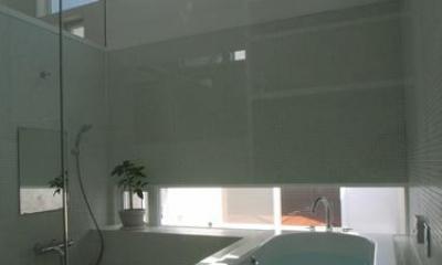 『黒いピラミッド』雪に対応した形・伝統の架構・4つの中庭 (勾配天井の開放的なバスルーム)
