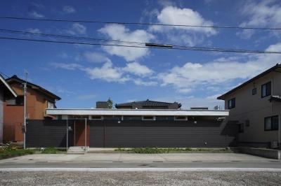 『菜園ののったフラット』3方向にひらいたコートハウス (平屋のコートハウス-外観)