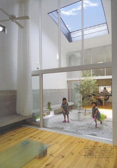 オリーブの植えられた2階パティオ-1 (『浮かんだパティオのある家』空中の庭園)
