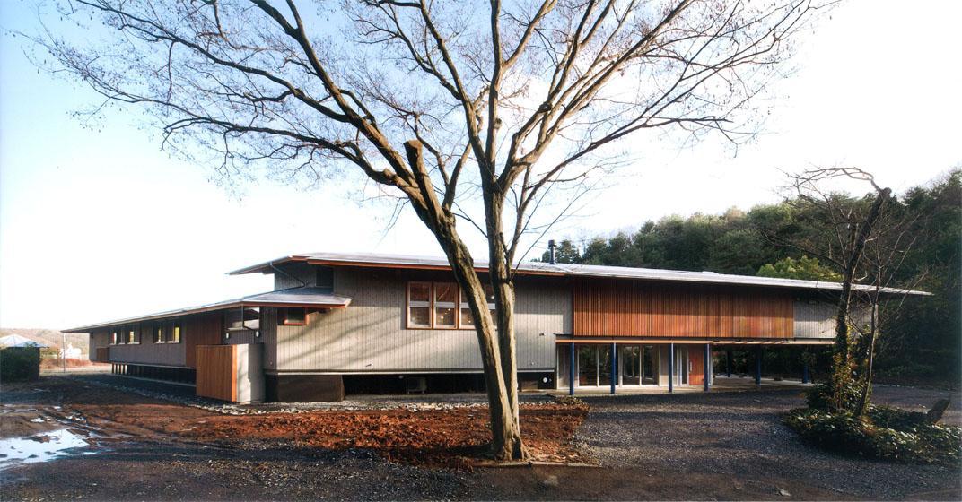 『武蔵野の家』桜の大木の別荘 (木製ルーバーがアクセントの外観-1)
