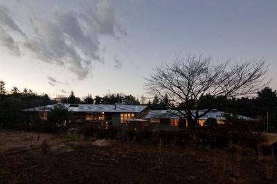 『武蔵野の家』桜の大木の別荘 (外観夕景-1)