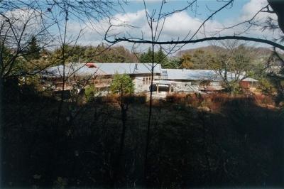 『武蔵野の家』桜の大木の別荘 (中央で約135°折れた別荘-外観)