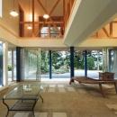 『武蔵野の家』桜の大木の別荘の写真 薪ストーブのある開放的な土間空間