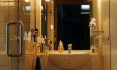 『稲美の家』シンボルツリーのある温かな住まい (コンパクトな洗面スペース)