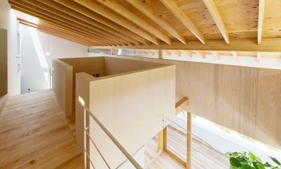 『コヤナカハウス』半屋外空間のドマがある家 (開放的な2階ホール)
