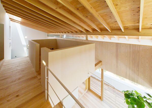 『コヤナカハウス』半屋外空間のドマがある家の部屋 開放的な2階ホール