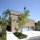 名古屋市Y邸・高級感と重層感を併せもつコートハウス住宅の写真 落ち着いた色調の外観