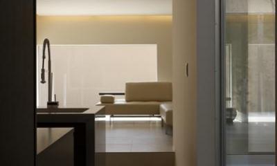 名古屋市Y邸・高級感と重層感を併せもつコートハウス住宅 (キッチンよりリビングを見る)