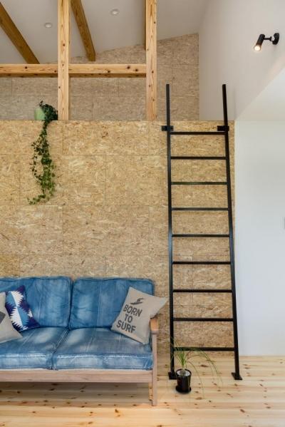 リビング (外にいるような開放的な美容室併用住宅(ヘアーサロンPECOS))