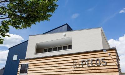 外にいるような開放的な美容室併用住宅(ヘアーサロンPECOS)