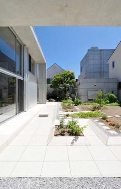 囲み庭の家 La Casa col Cortiletto Interno -by mcja (庭園と一体化するリビングダイニング)