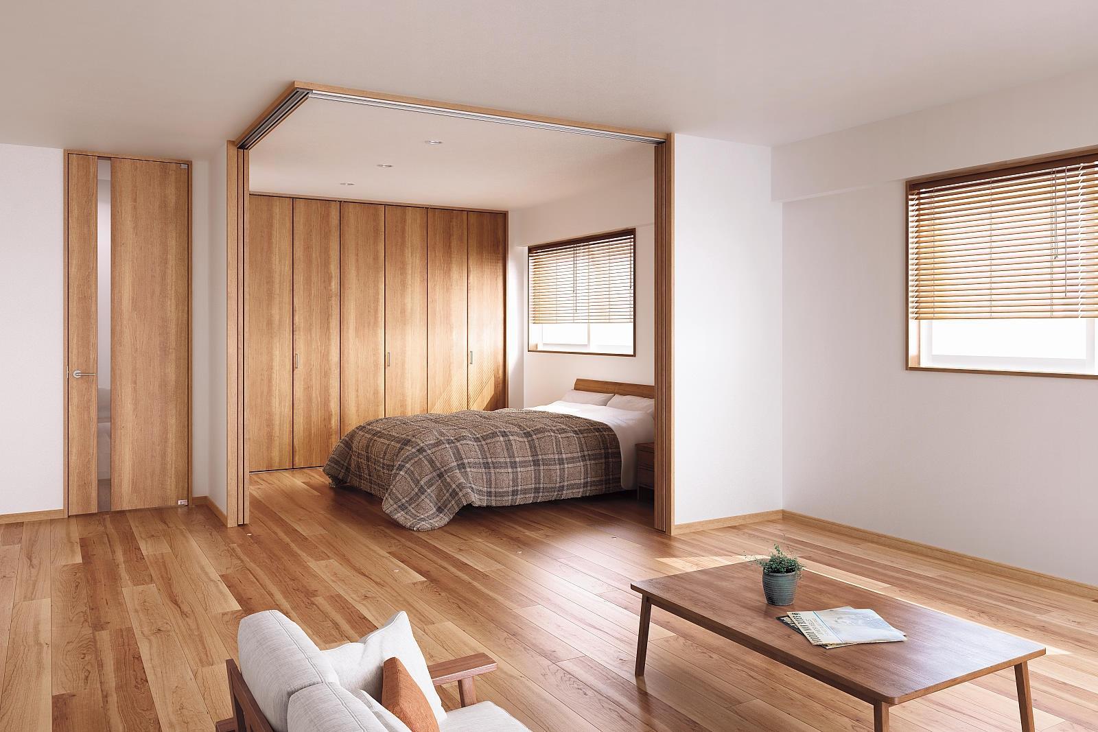カントリーテイストの部屋 安心感のある暖かさが感じられるベッドルーム