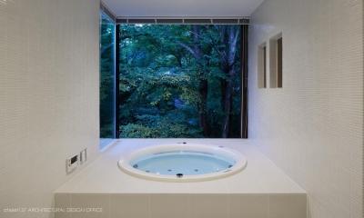 035カルイザワハウス (浴室夕景)
