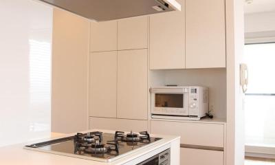 50㎡のワンルーム (壁収納のある白いキッチン)