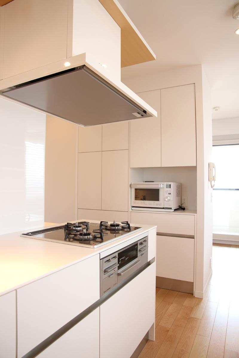 50㎡のワンルームの部屋 壁収納のある白いキッチン