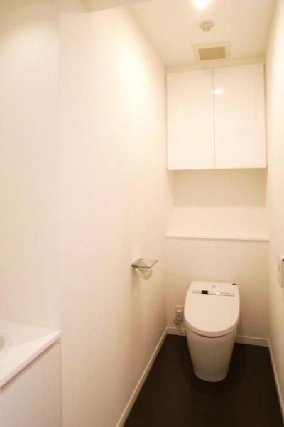 シンプルな白いトイレ (壁も床も白くさわやかに)