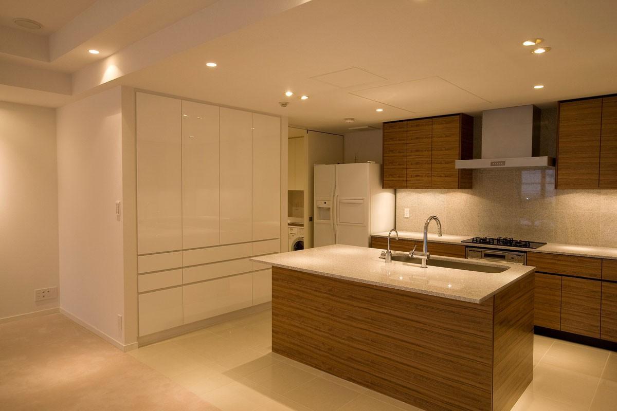 専有面積200m2のビンテージマンションフルリフォームの部屋 動きやすさや収納力を重視したキッチン