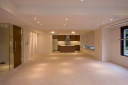 専有面積200m2のビンテージマンションフルリフォーム (開放的なリビング)
