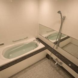 自然石を使ったバスルーム (専有面積200m2のビンテージマンションフルリフォーム)