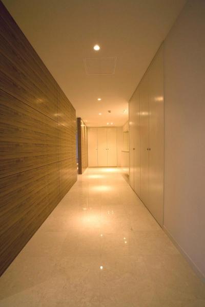 収納の多い廊下 (専有面積200m2のビンテージマンションフルリフォーム)