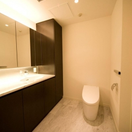 専有面積200m2のビンテージマンションフルリフォーム (広々とした開放的なトイレ)