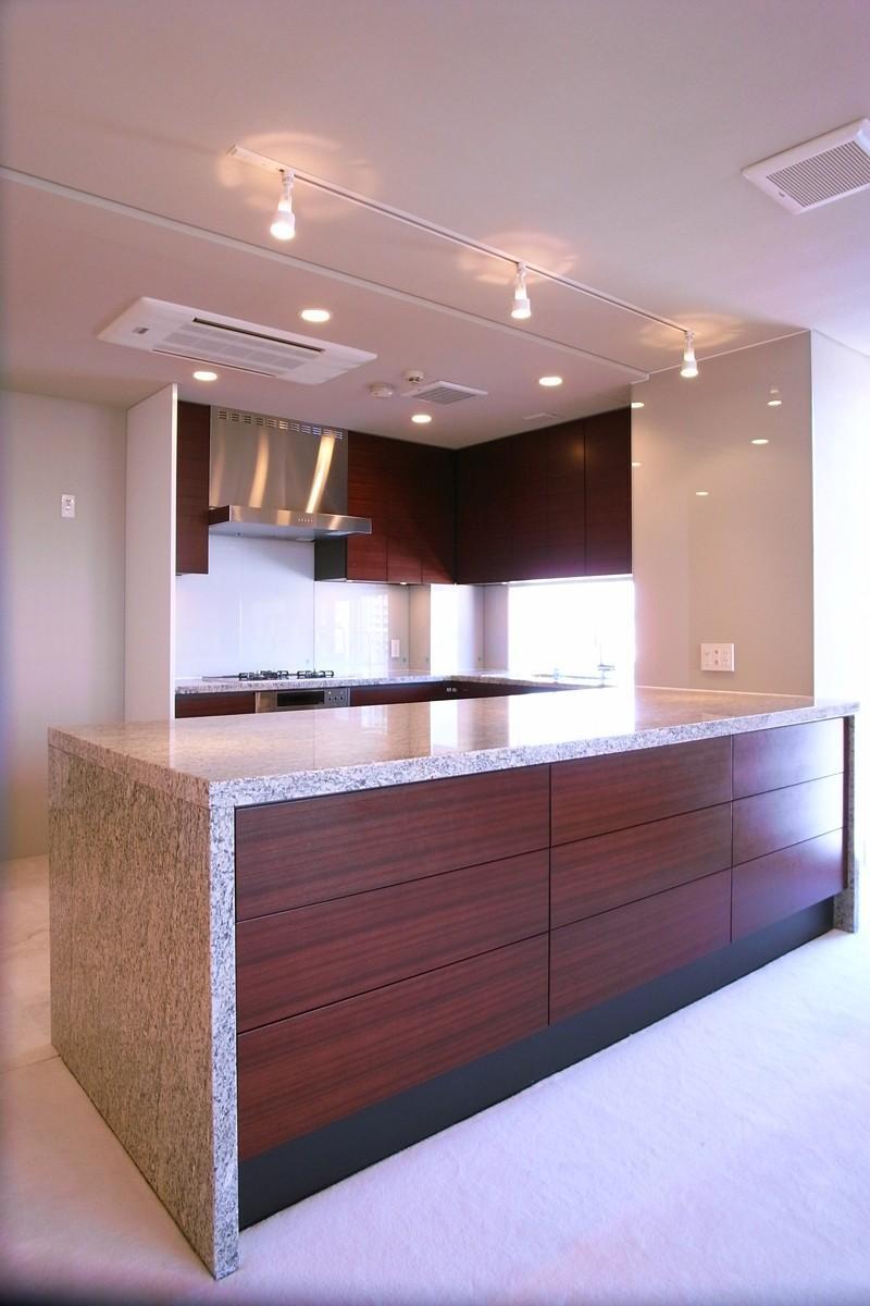 オ-プンキッチンで広々との部屋 横から見るキッチン